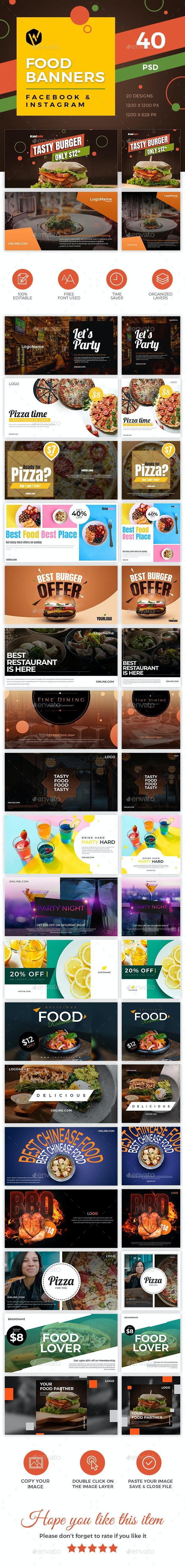 40 Food Banners - Facebook & Instagram - Social Media Web Elements