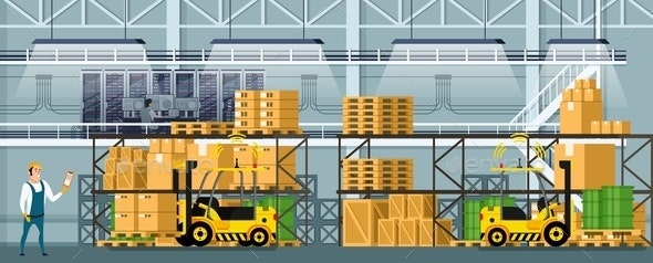 Modern Warehouse Indoor Space with Goods on Shelf - Business Conceptual