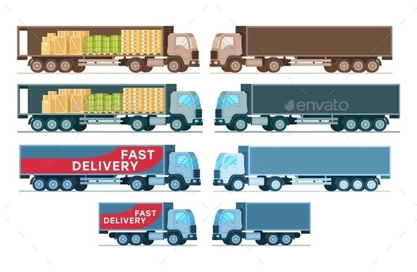 Side View of Cargo Express Delivery Truck Set - Business Conceptual