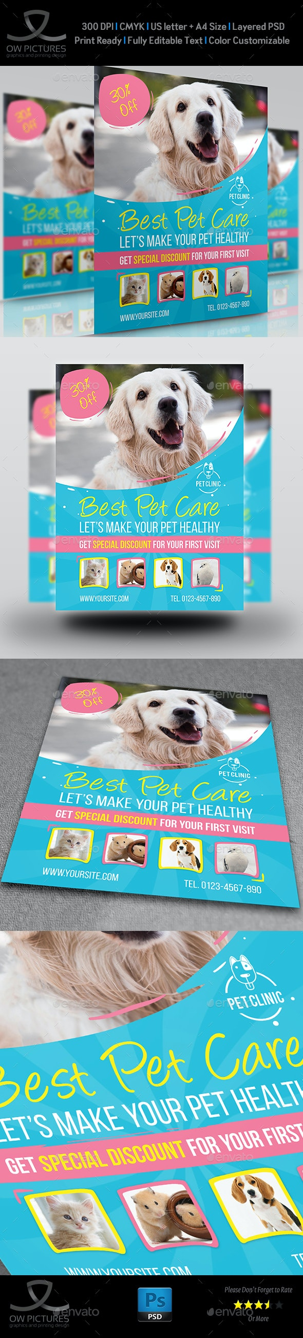 Pet Care Center Flyer Template - Flyers Print Templates