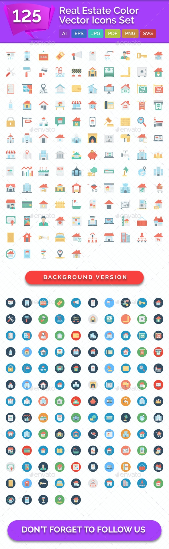 125 Real Estate Color Vector Icons Set - Icons