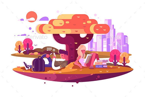 Young Students Sitting Under Tree and Studying - Miscellaneous Vectors