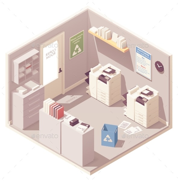 Vector Isometric Office Copy Room - Man-made Objects Objects