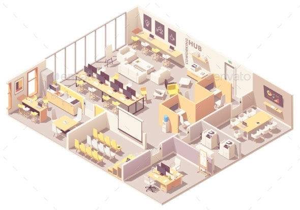 Vector Isometric Coworking Space Interior Plan - Man-made Objects Objects