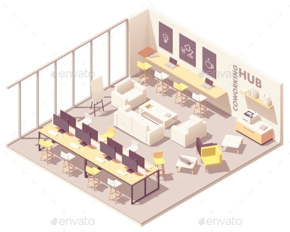 Vector Isometric Coworking Open Space - Buildings Objects