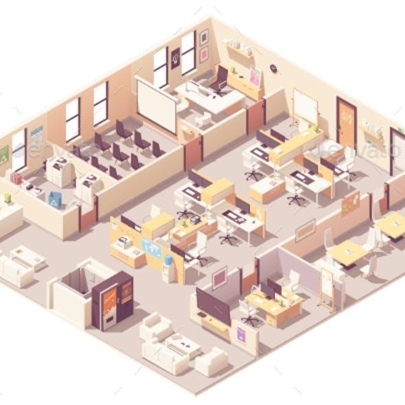 Vector Isometric Office Interior Plan