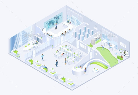 Modern Business Company Office Isometric Vector - Buildings Objects