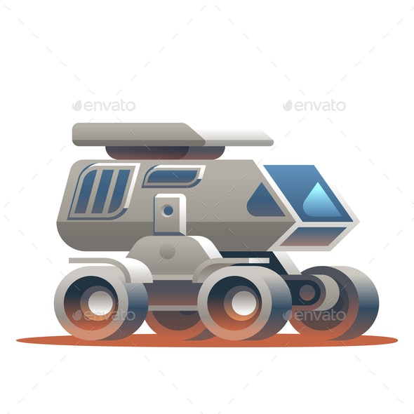 Space Rover Traveling Around Planet - Miscellaneous Vectors
