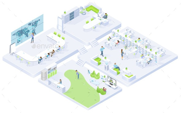Company Office Rooms Isometric Vector Interiors - Buildings Objects