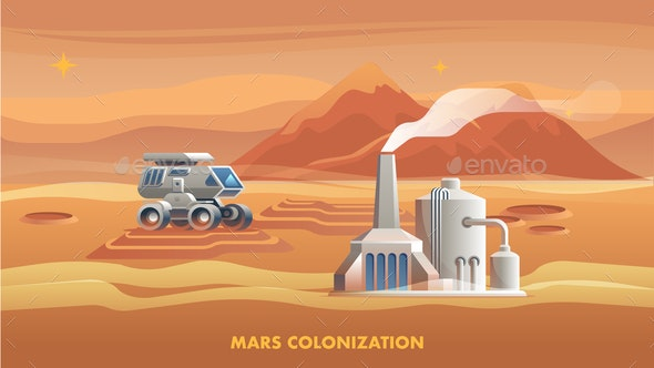 Illustration Mars Colonization First Astronaut - Buildings Objects