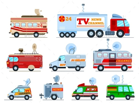 Broadcast Car Vectors - Man-made Objects Objects