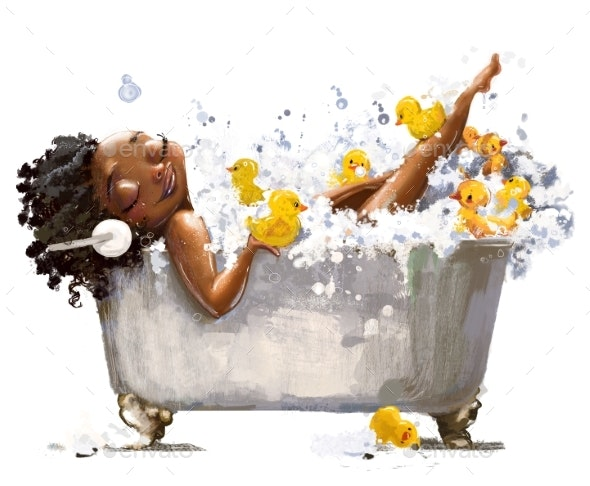 Young African Woman in Bath - People Illustrations