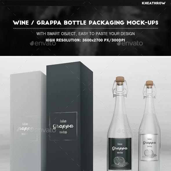 Wine / Grappa Bottle Packaging Mock-Ups