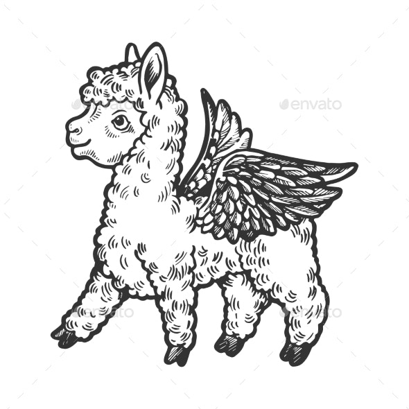 Angel Flying Baby Llama Engraving Vector - Miscellaneous Characters