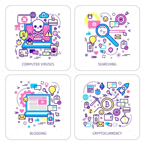 Set of Lineart Business Illustration - Computers Technology