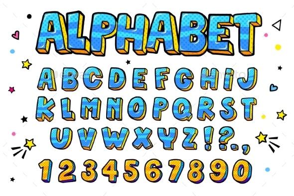 Comic Retro Letters Set - Miscellaneous Vectors