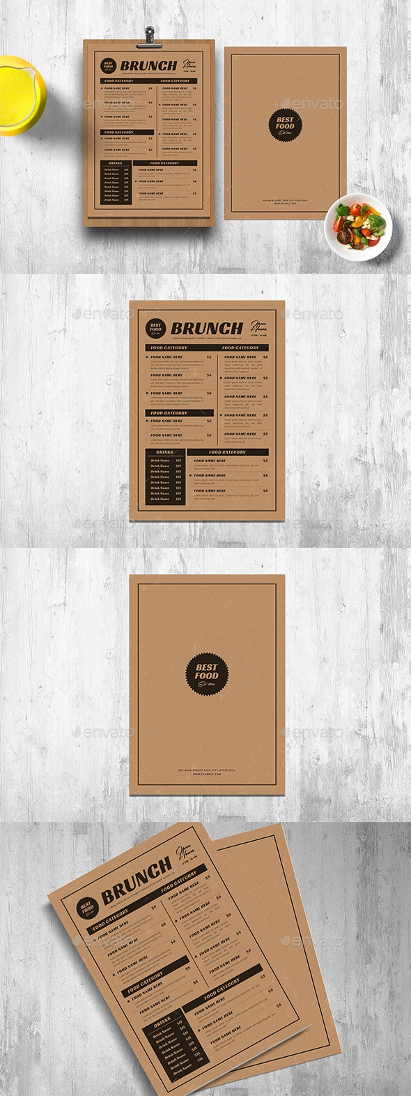 Retro Menus With Kraft Paper - Restaurant Flyers