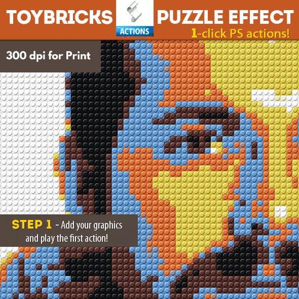 Lego Bricks with Puzzle Effect Photoshop Action
