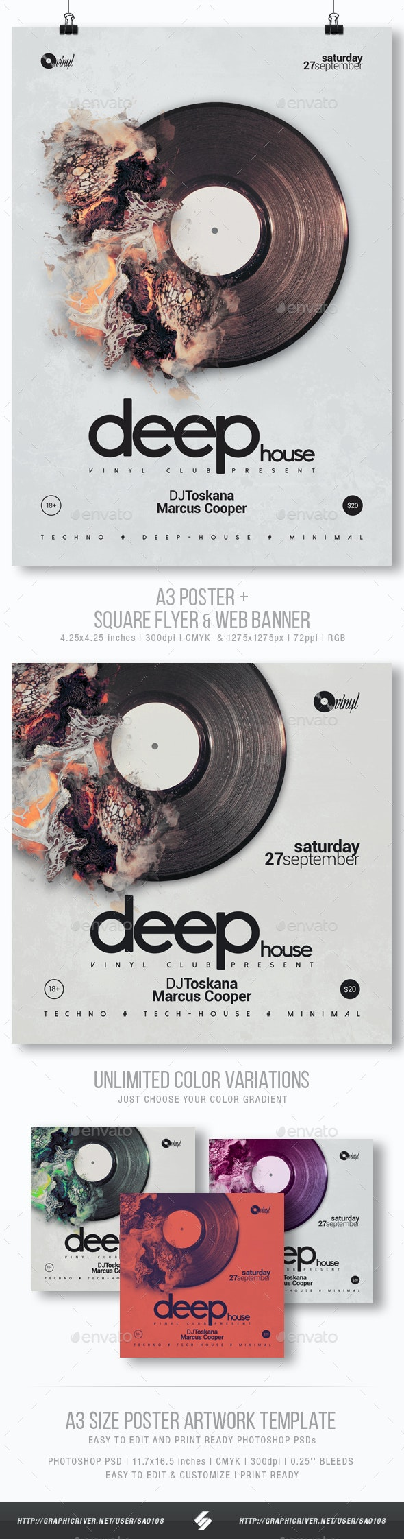 Deep Sound vol.2 - Party Flyer / Poster Template A3 - Clubs & Parties Events