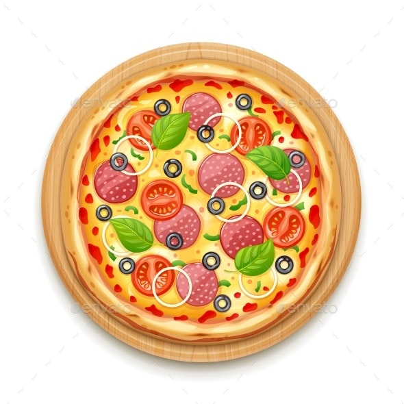 Fresh Pizza with Tomato - Food Objects