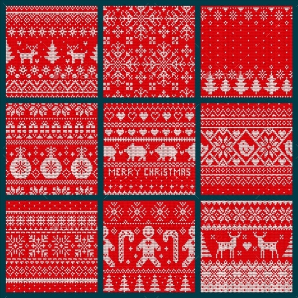 Christmas Embroidery Seamless Knitted Pattern Set - Christmas Seasons/Holidays