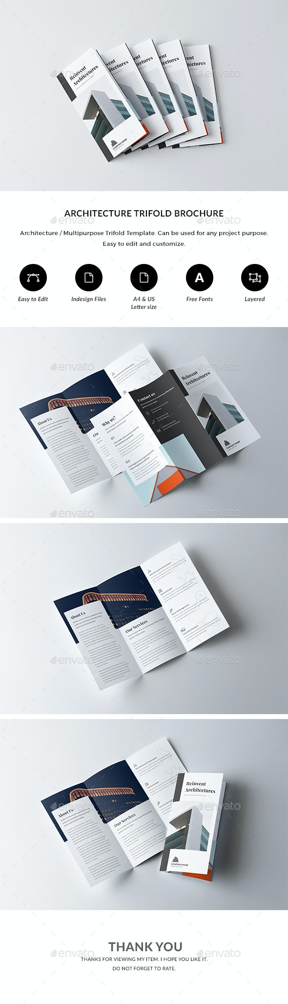 Architecture / Multipurpose Tri-fold Brochure Template - Corporate Brochures