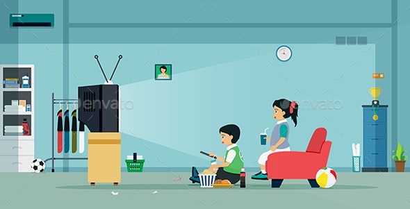 Children Watching TV - People Characters