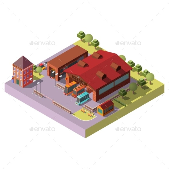 Bus Depot Building Exterior Isometric Vector Icon - Buildings Objects