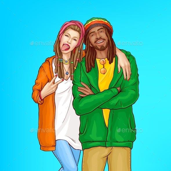 Happy Rastafarian People Pop Art Vector