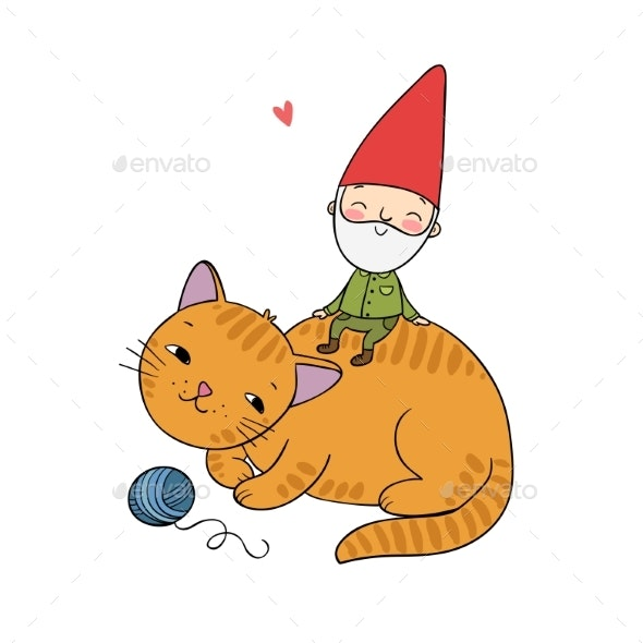 Cartoon Gnome and Cat - Miscellaneous Characters