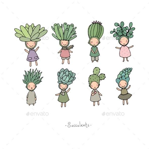 Set with Cartoon Succulents