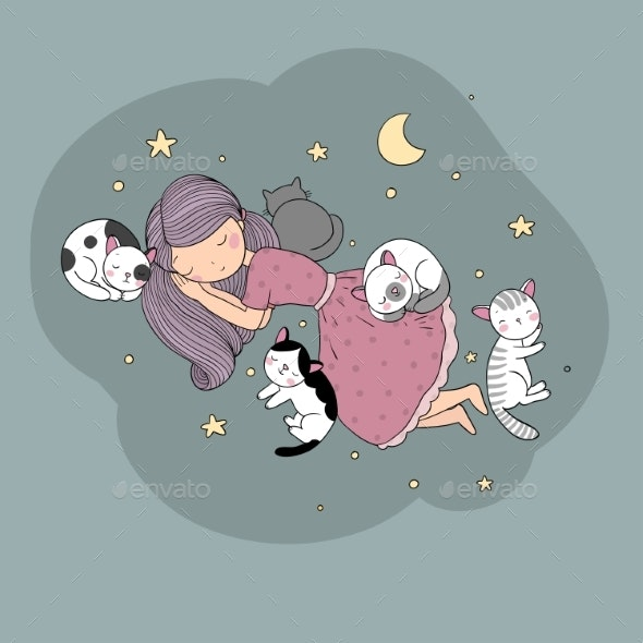 Girl Cats and Dog Sleep in Bed - Miscellaneous Vectors