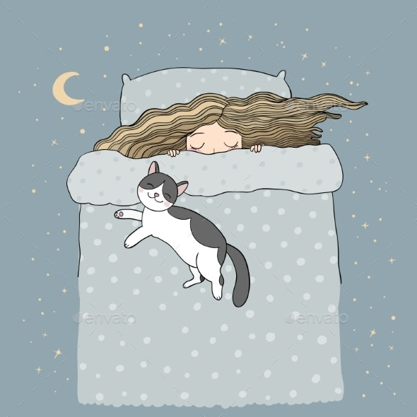 Sleeping Girl and Cat - Animals Characters