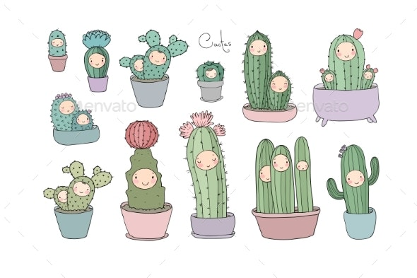 Cartoon Cactus and Succulents in Pots - Flowers & Plants Nature