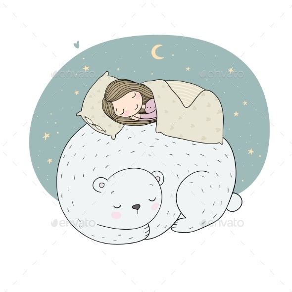 Sleeping Girl and a Bear - Animals Characters