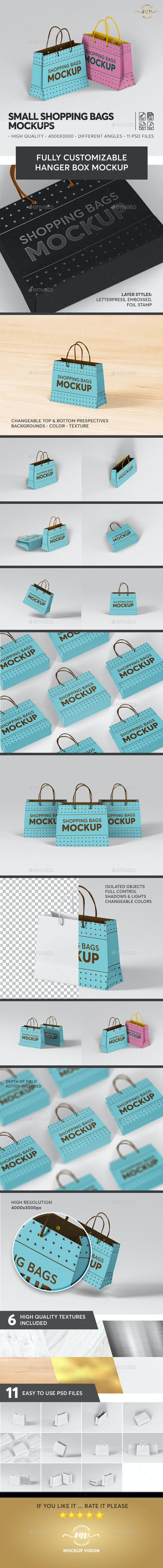 Small Shopping Bags Mockups - Stationery Print