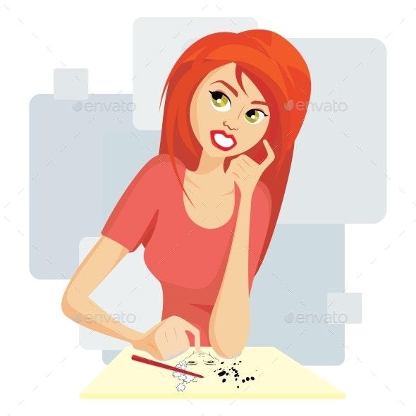 Cartoon Female Painting Portrait - People Characters