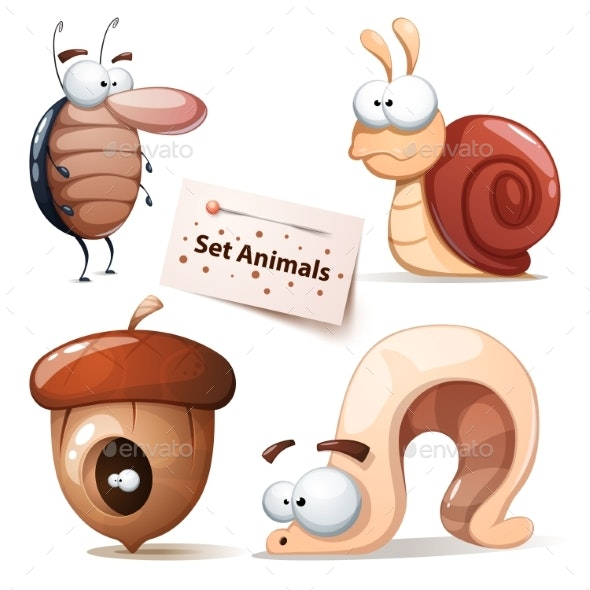 Cockroach, Snail, Nuts, Worm - Animals Set - Animals Characters
