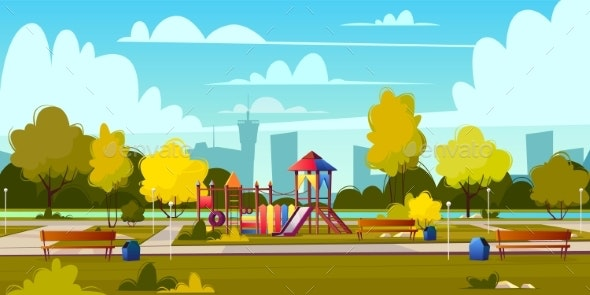 Vector Background of Cartoon Playground in Park - Landscapes Nature
