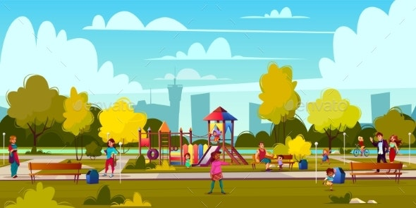 Vector Cartoon Playground in Park with People - Landscapes Nature