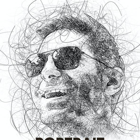 Portrait Scribble Sketch Art Photoshop Action