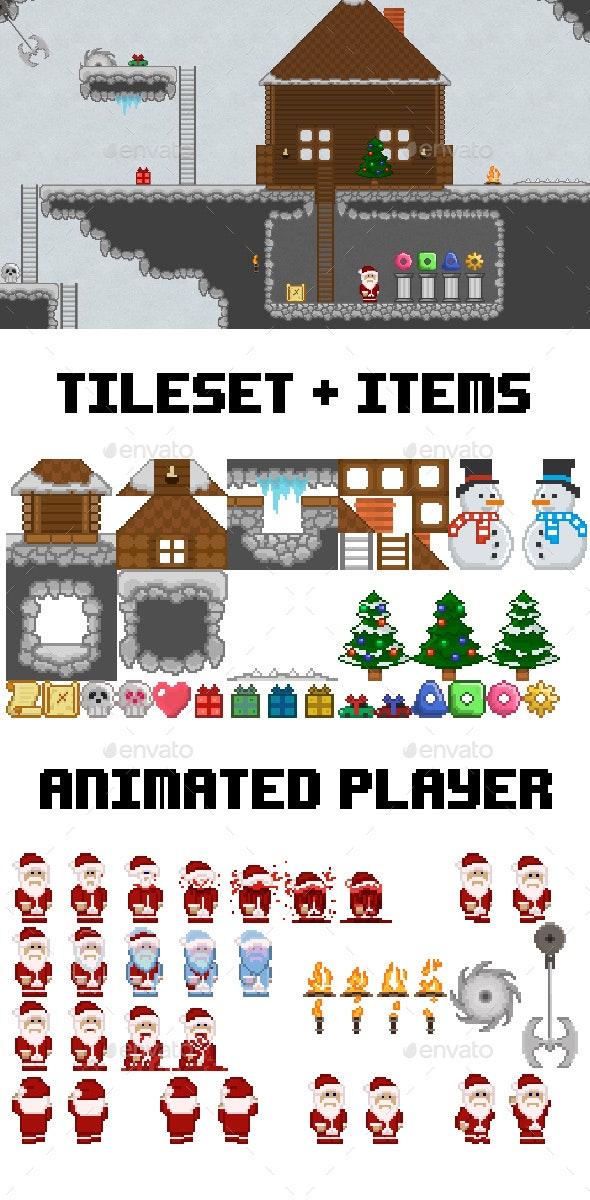 Pixel Christmas Tileset - Tilesets Game Assets