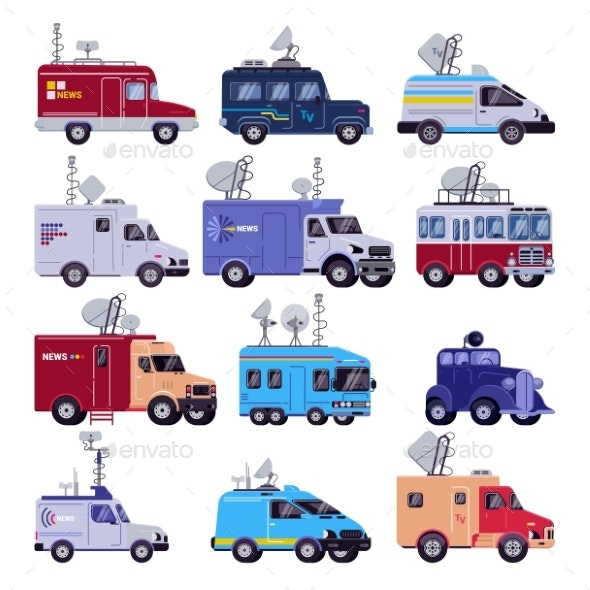 Broadcast Vehicle Vector TV Broadcasting Cars - Man-made Objects Objects