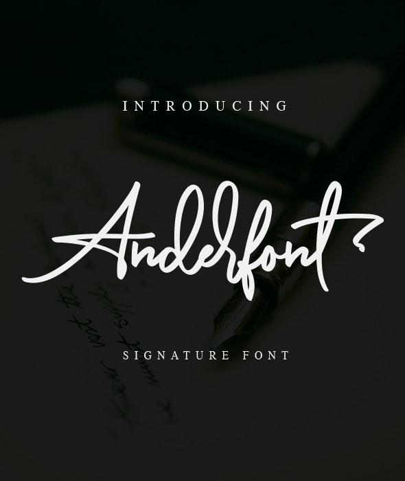 Anderfont - a Signature Font - Hand-writing Script