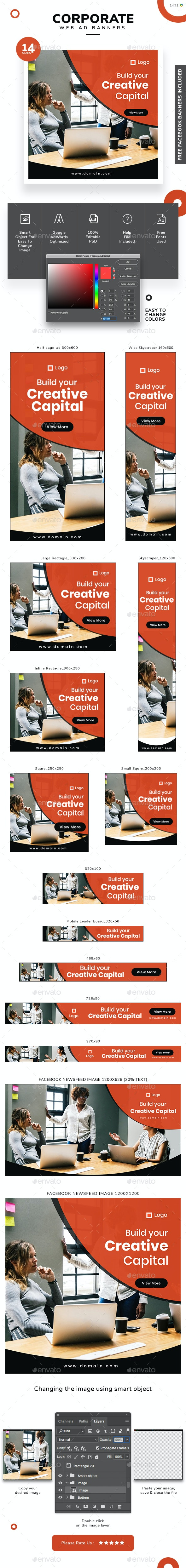 Corporate Web Banner Set - Banners & Ads Web Elements