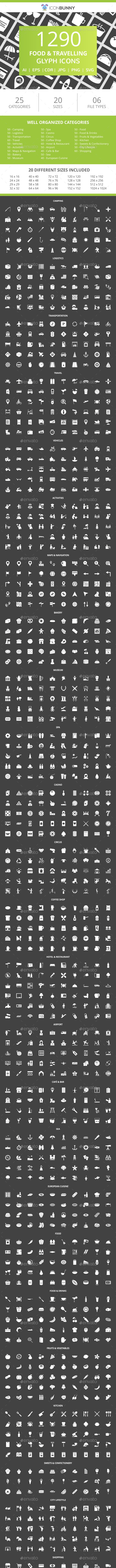 1240 Food & Travelling Glyph Inverted Icons - Icons