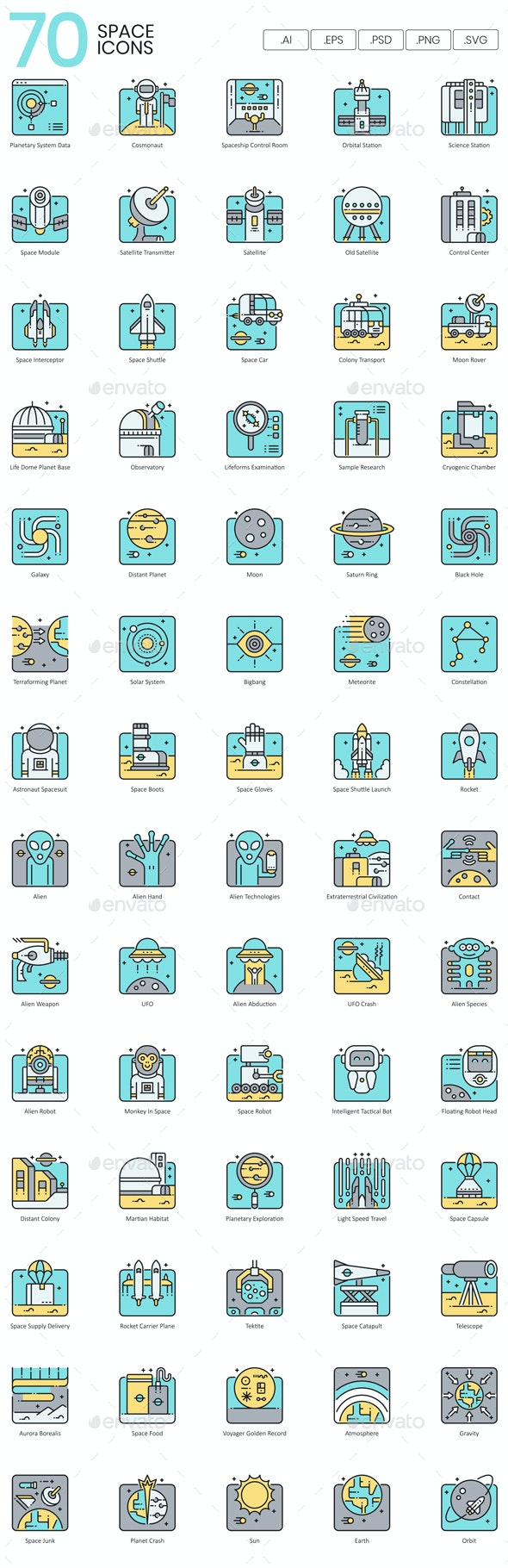 Space Icons - Aqua Series - Technology Icons