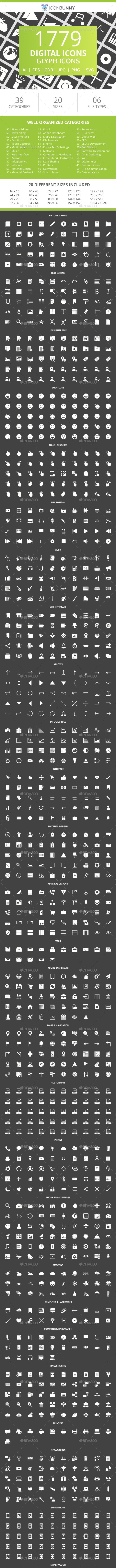 1779 Digital Glyph Inverted Icons - Icons