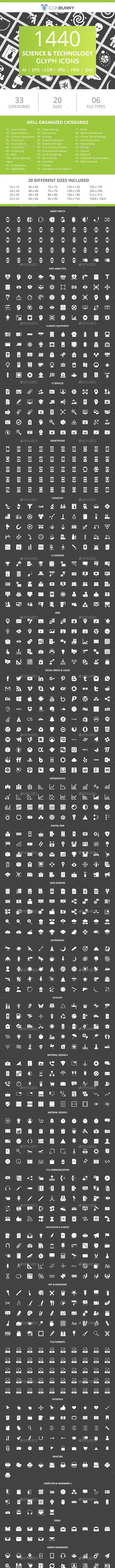 1440 Science & Technology Glyph Inverted Icons - Icons