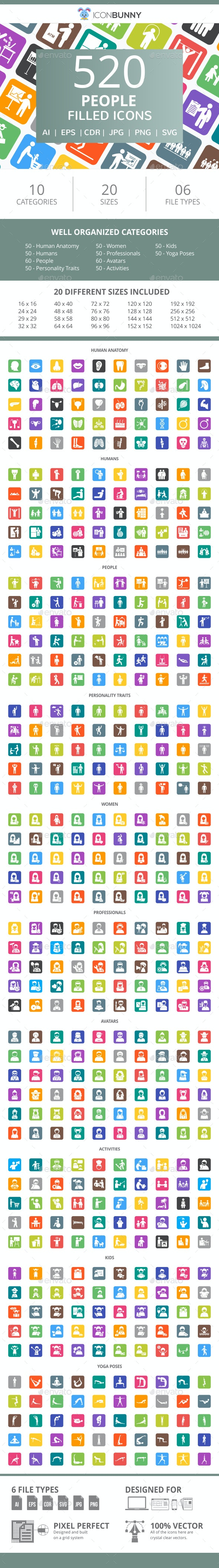 520 People Flat Round Corner Icons - Icons